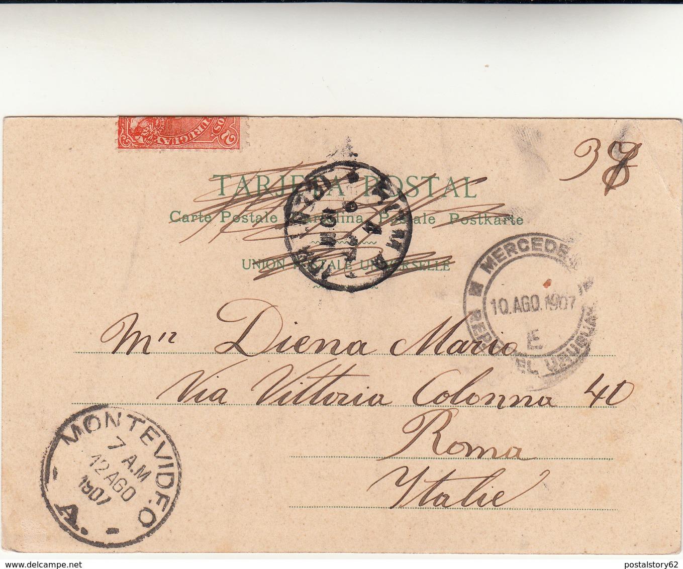Montevideo To Roma Su Post Card 1907 - Uruguay