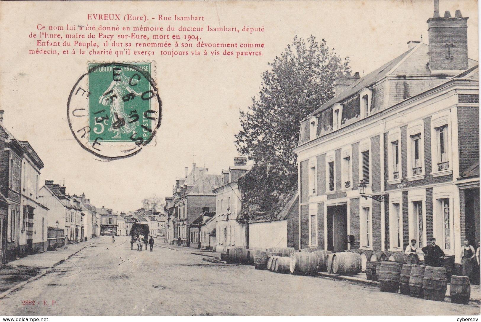 EVREUX - Rue Isambard - Nombreux Tonneaux - Animé - Très Bon état - Evreux