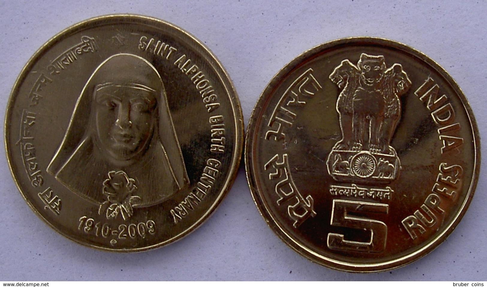 INDIA 5 RUPEES 2009  SANTA ALFONSA NASCITA CENTENARIO UNC - India