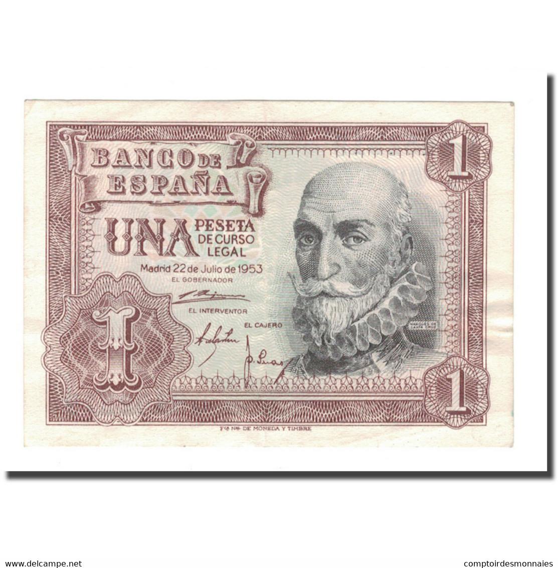 Billet, Espagne, 1 Peseta, 1953, 1953-07-22, KM:144a, TTB+ - [ 3] 1936-1975 : Régence De Franco