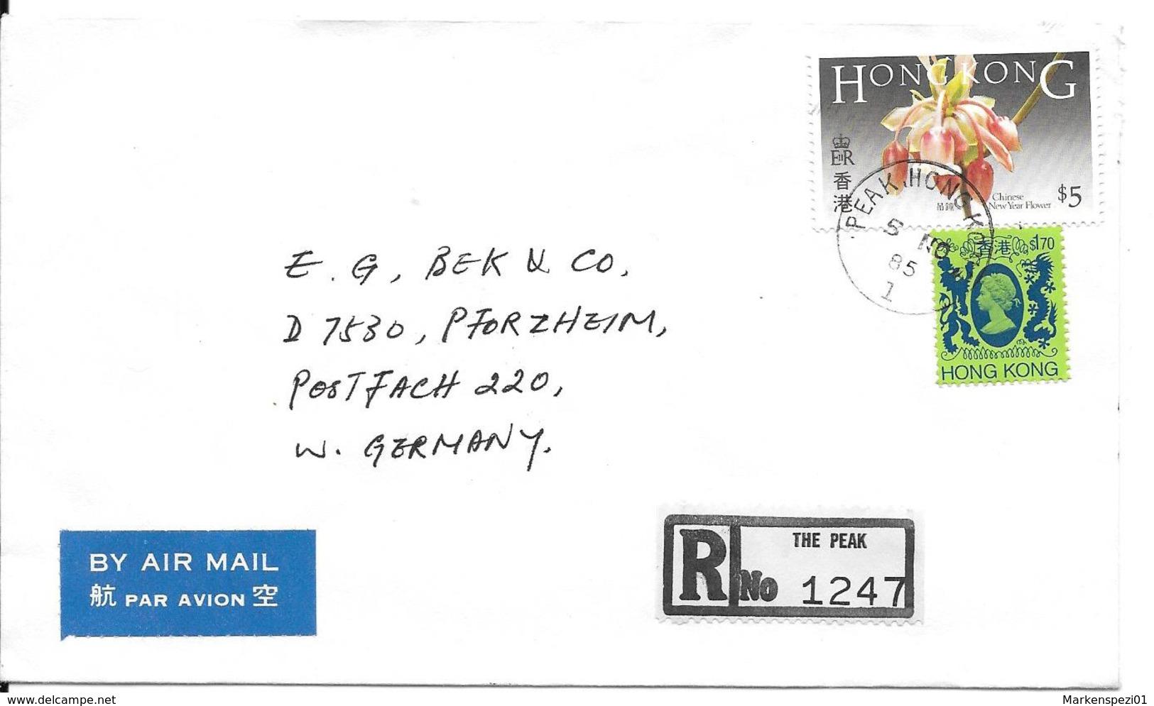 Hongkong Luftpost Einschreibe Beleg MiF 1985 - Pforzheim - Lettres & Documents