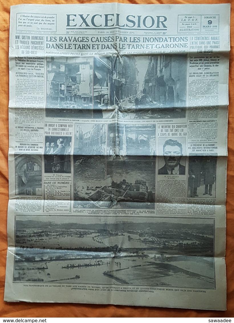 JOURNAL - LOT DE 2 - EXCELSIOR - LES INONDATIONS DU MIDI - EN DATE DU 9 ET 13 MARS 1930 - Zeitungen