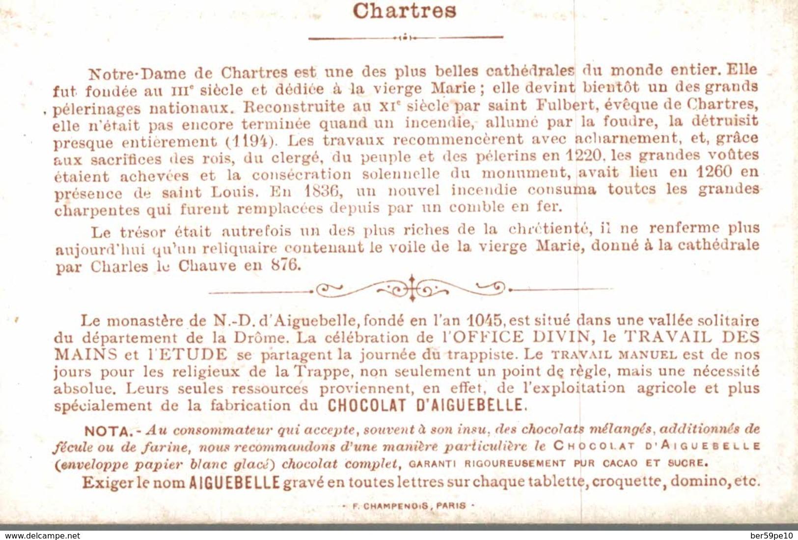 CHROMO CHOCOLATERIE  D'AIGUEBELLE  CHARLES LE CHAUVE FAIT DON DU VOILE DE LA SAINTE VIERGE A LA CATHEDRALE DE CHARTRES - Cromos