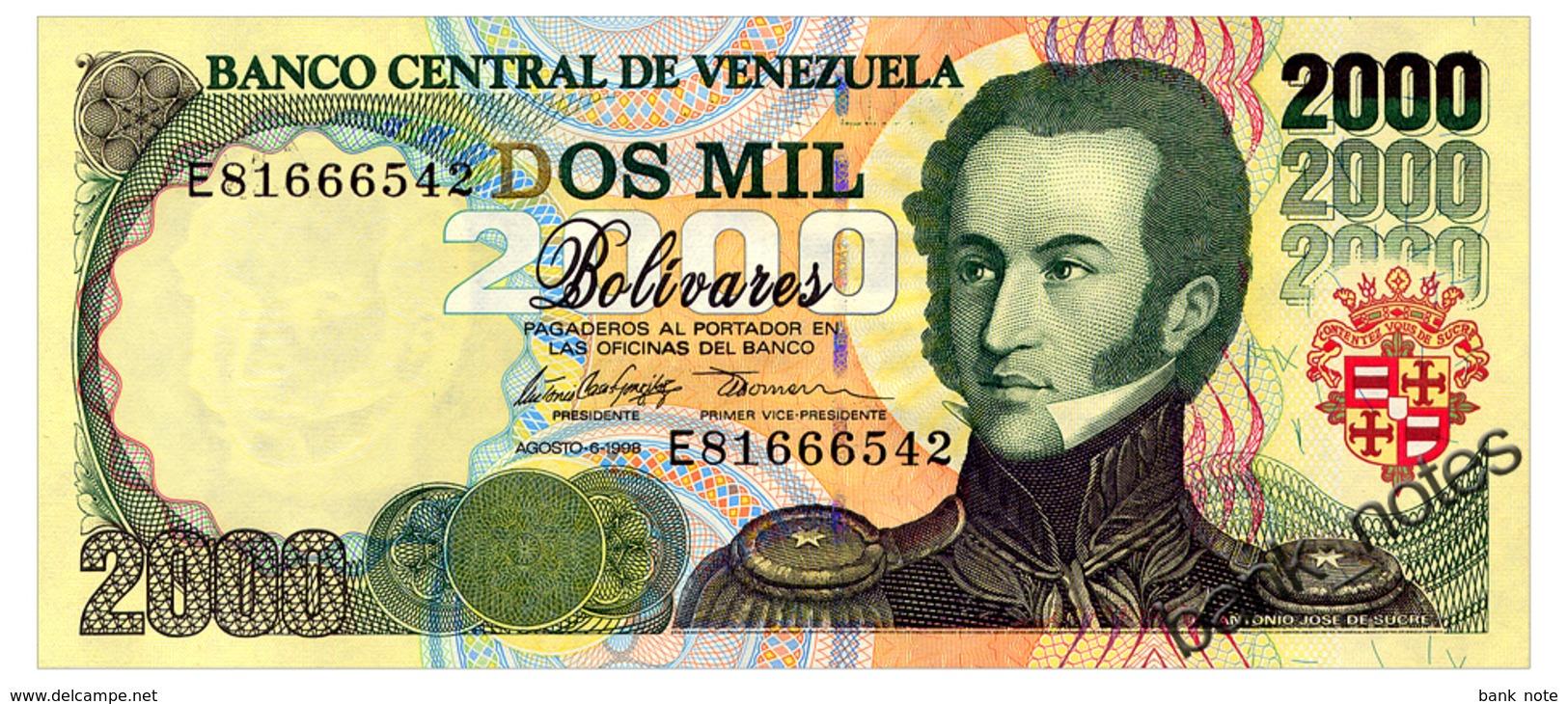 VENEZUELA 2000 BOLIVARES 1998 Pick 77c Unc - Venezuela