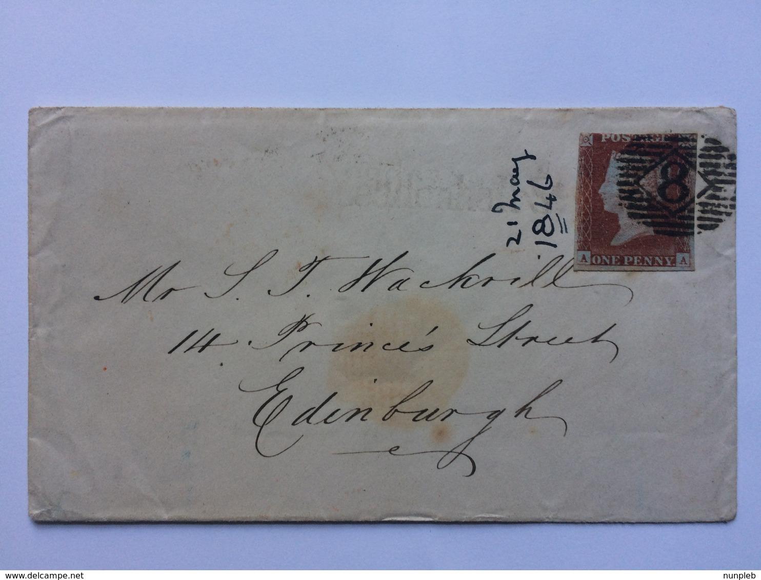 GB - Victoria 1846 Cover To Edinburgh - Diamond 8 London Postmark - Cartas