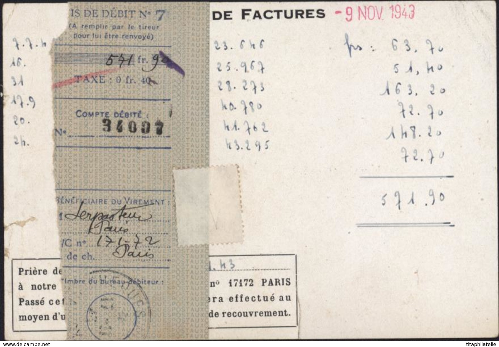 Entier 1.20 Petain CP Repiquée Institut Pasteur Serpasteur Paris Dos Facture + Avis Paiement Storch D1G - Overprinter Postcards (before 1995)