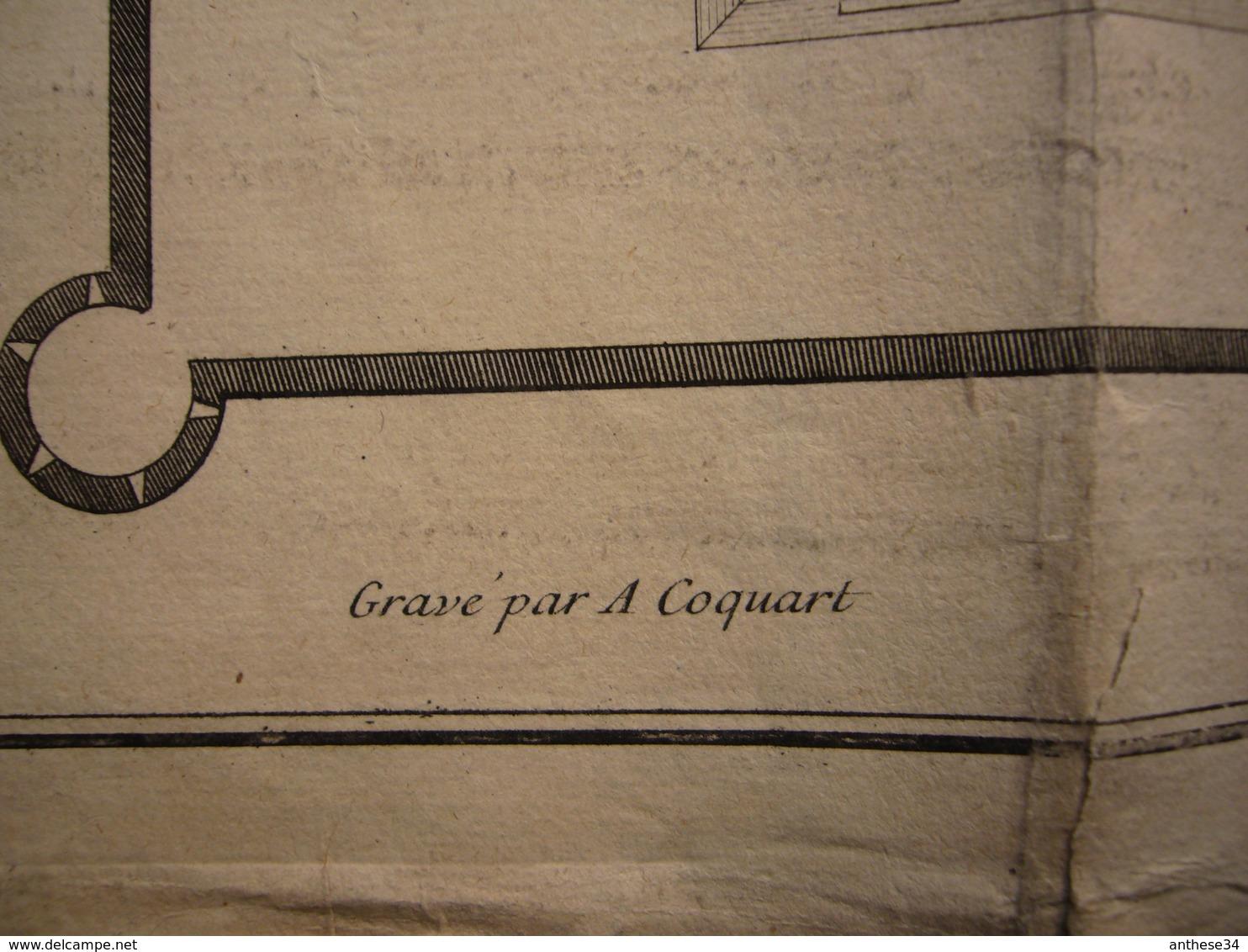 Plan 1719 Signé Mazin Bâtiment Pour Les Troupes Gravé Par A. Coquart 53 X 70 Cm - Architecture