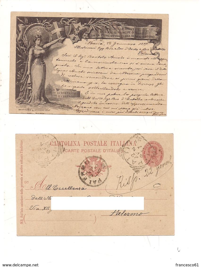 2455) Intero Postale Nozze 1897 Viaggiato Patti Tondoriquadrato - 1878-00 Umberto I