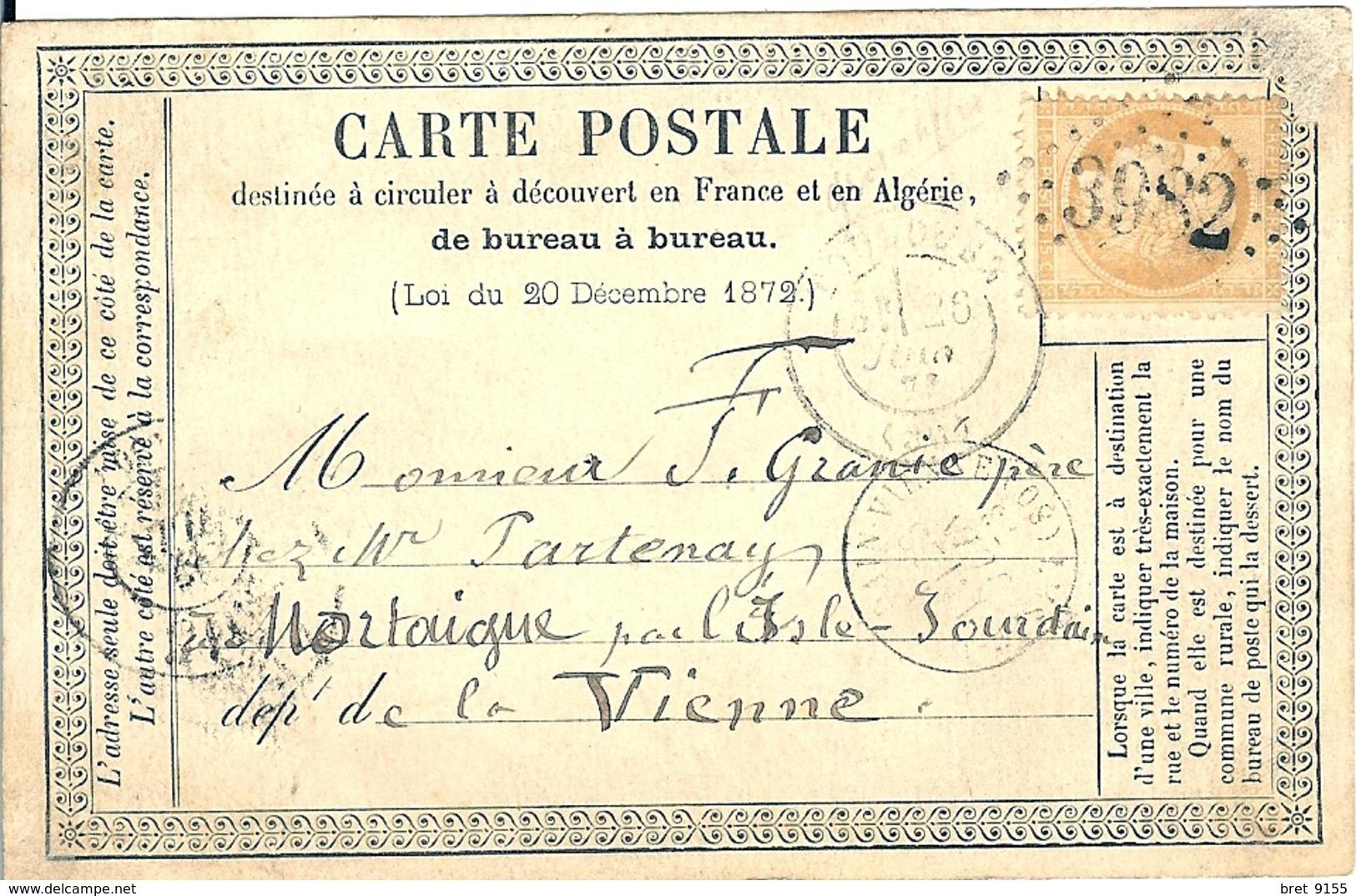 TIMBRE SUR CARTE POSTALE DE 1873 DEPART DE TOULOUSE POUR MORTAIGNE CACHET LOSANGE 3982 - 1862 Napoleon III