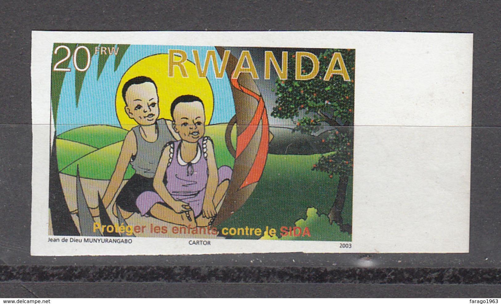 2003 Rwanda Rwandaise Aids Sida Health 20F Value  Imperf Non-Dentele MNH - Rwanda