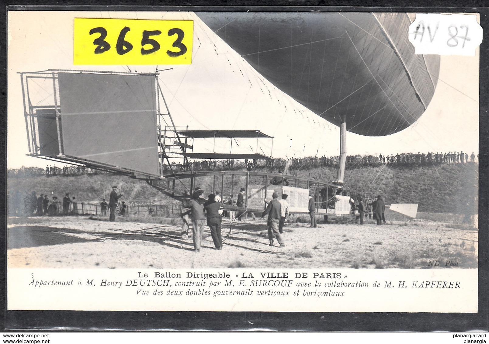 1534 AV87 AK PC CARTE PHOTO   DIRIGEABLE VILLE DE PARIS  VUE DES DOUBLES GOUVERNAILS  NC  TTB - Dirigibili
