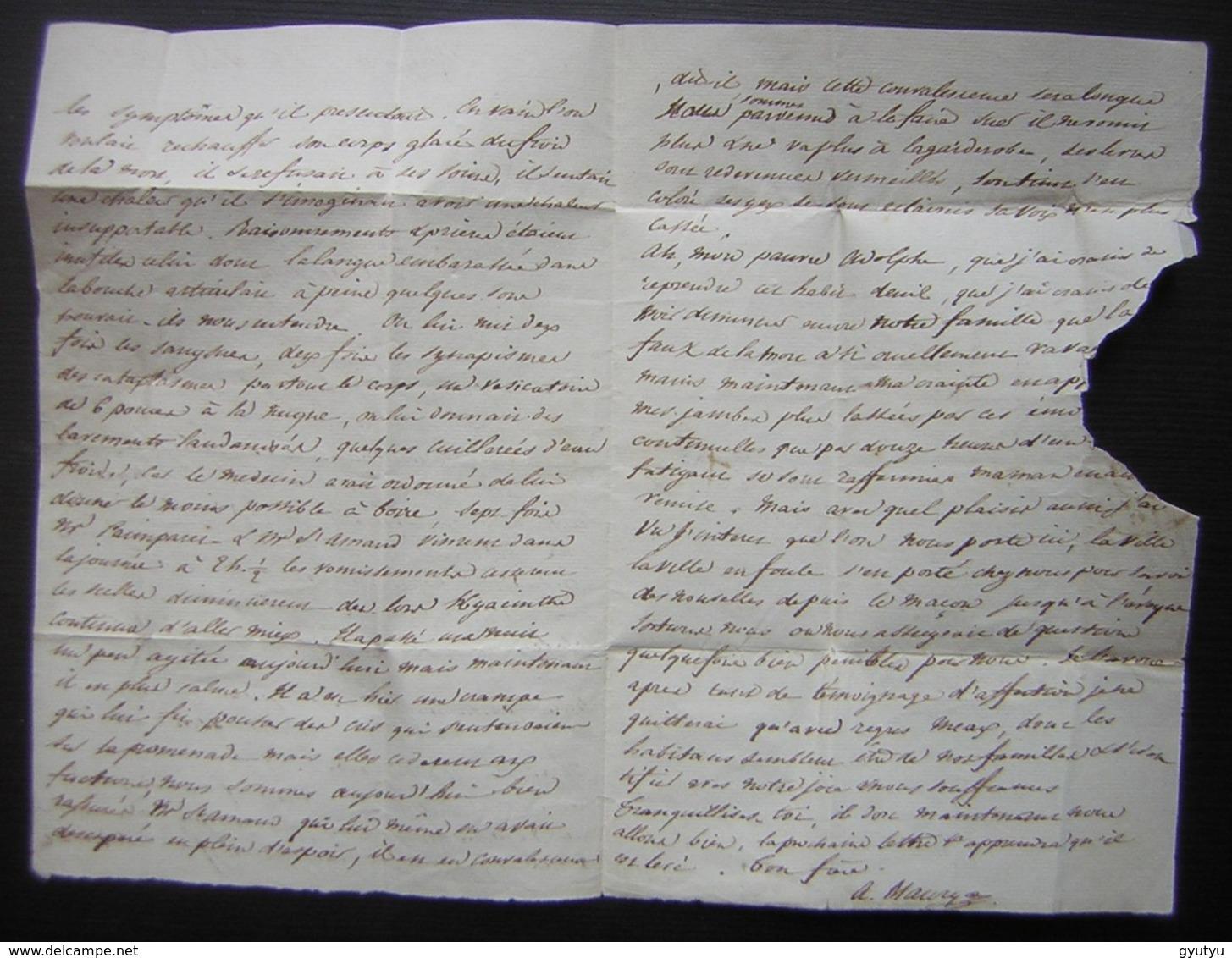 Choléra à Meaux En 1832 Description Des Symptômes Et Traitements D'un Malade Dans Une Lettre Pour  L'École Polytechnique - Manuscrits