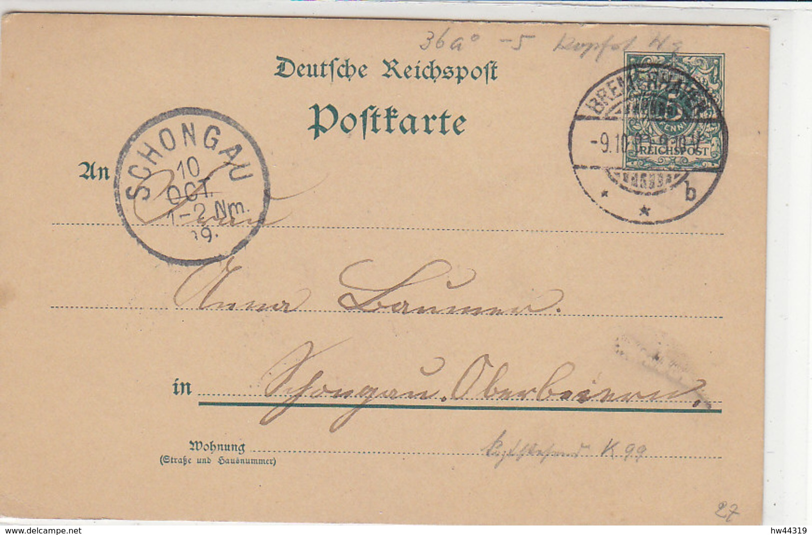 Ganzsache Aus BREMERHAVEN 9.10.90 Nach Schongau 10.10.89!! - Cartas