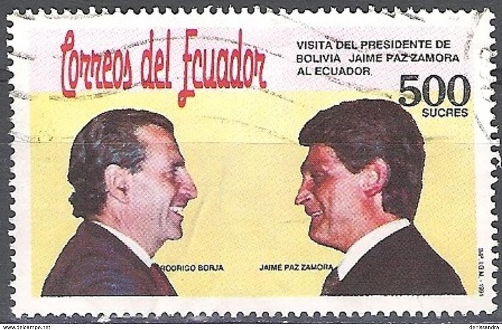 Ecuador 1991 Michel 2200 O Cote (2005) 1.00 Euro Présidents Jaime Paz Zamora / Rodrigo Borja Cevallos Cachet Rond - Equateur
