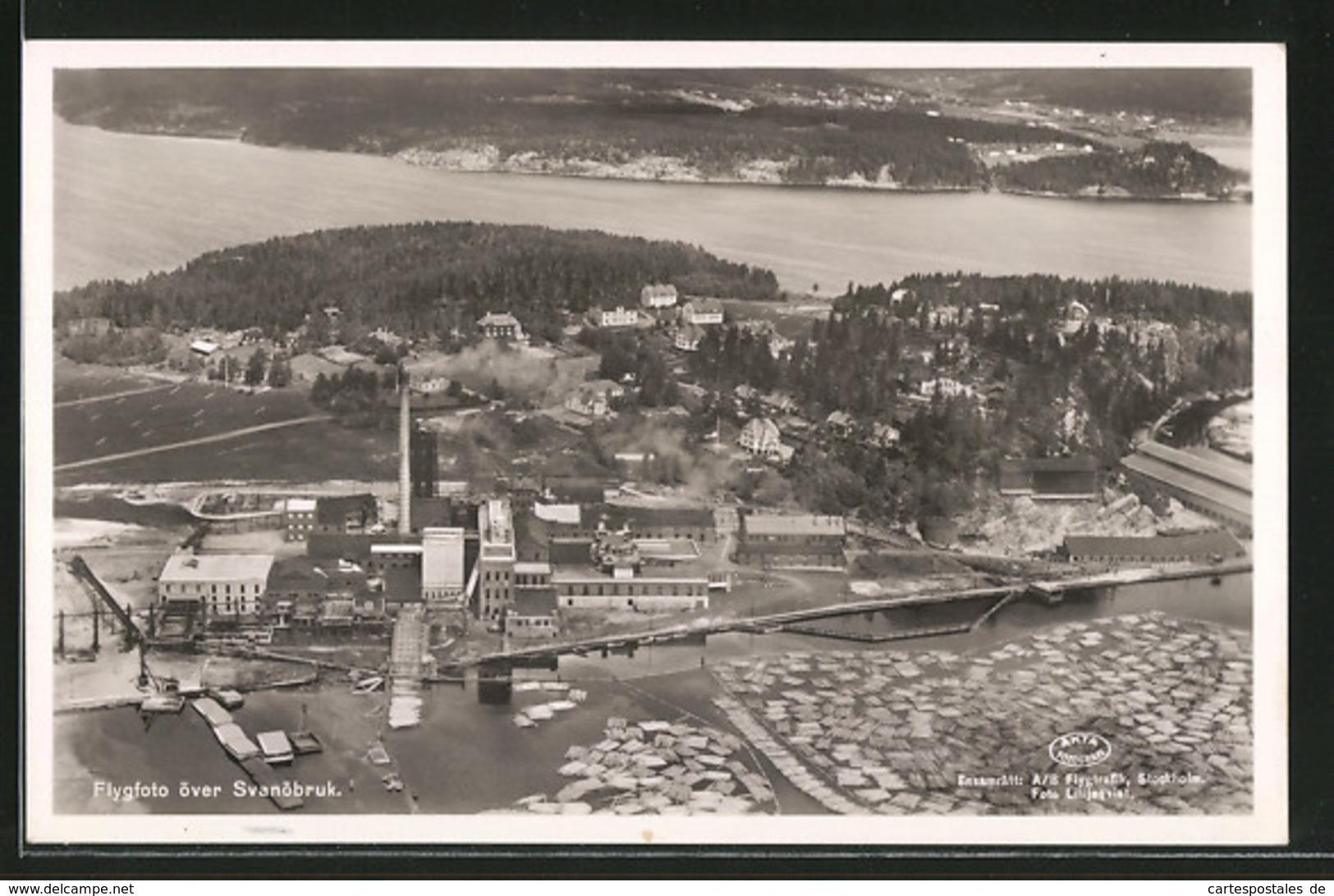AK Svanöbruk, Fabrikansicht Vom Flugzeug Aus - Zweden