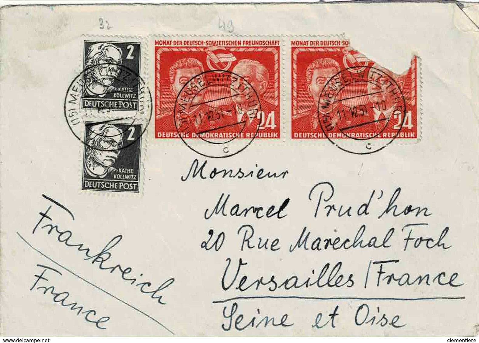 TP N° 37 Des Emissions Générales Et N° 49 ( Y&T ) Sur Enveloppe De Meuselwitz Pour Versailles - DDR