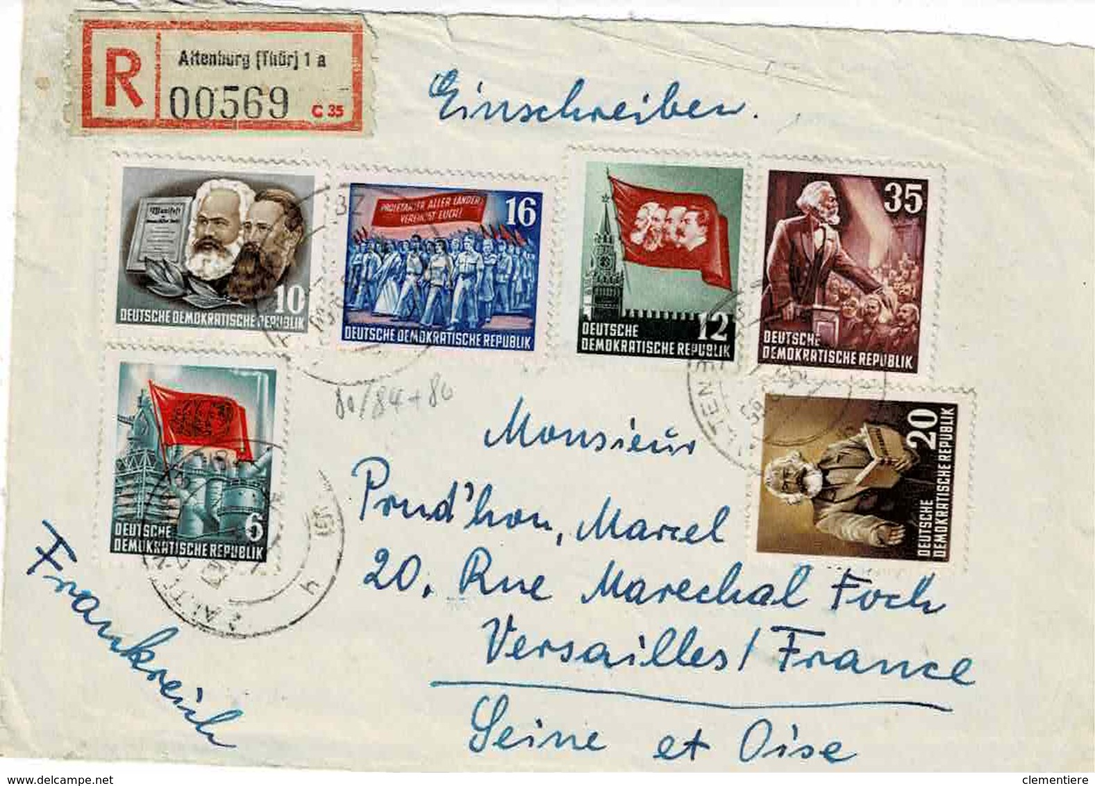 TP N° 81/84 Et 86 ( Y&T ) Sur Devant D'enveloppe De Altenburg Pour Versailles - DDR