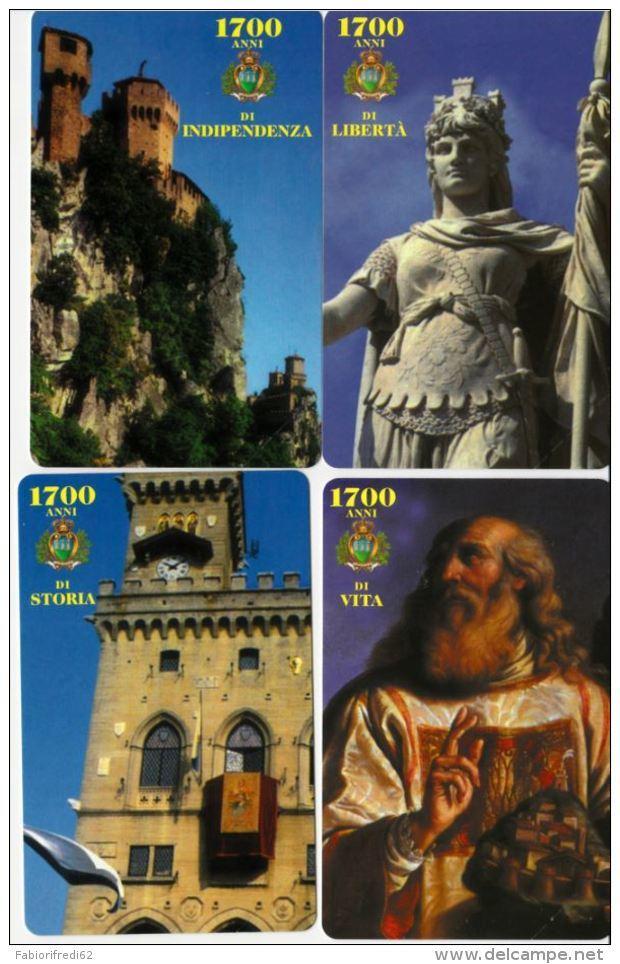 SERIE SCHEDE TELEFONICHE NUOVE RSM 47-50 1700 ANNI FONDAZIONE SANMARINO - San Marino