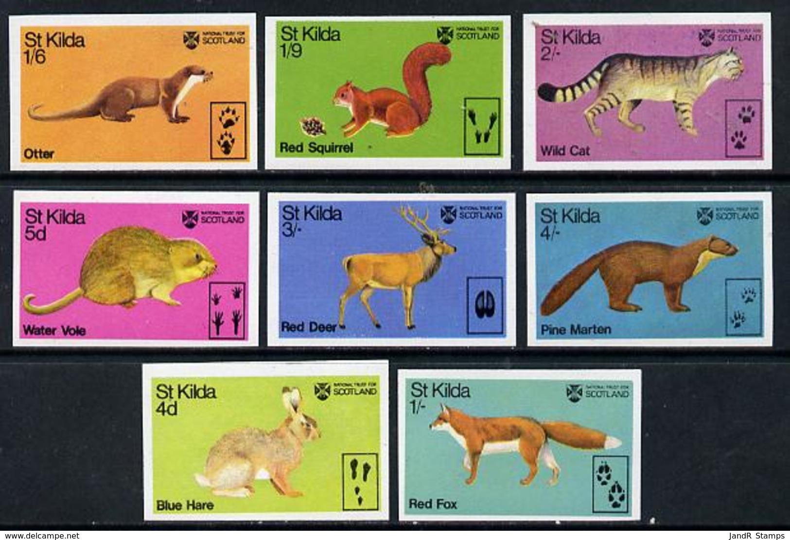 St Kilda 1970 Wildlife ANIMALS HARE SQUIRREL VOLE FOX DEER MARTEN OTTER CATS U/m Imperf Set Of 8 - Local Issues