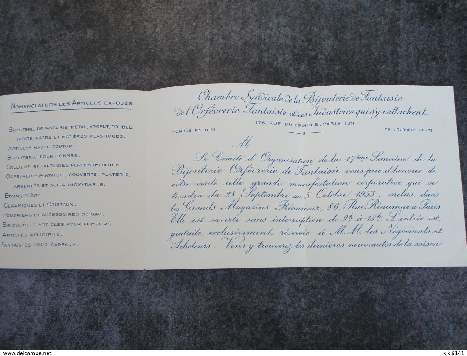 XVIIè Semaine De La Bijouterie Orfèvrerie De Fantaisie - CARTE D'ENTREE - 86, Rue Réaumur - Autres