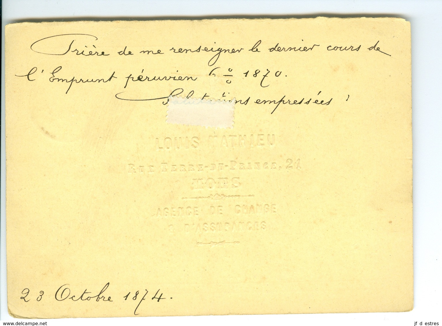 Carte Correspondance AS CàD Mons 1874 Louis Mathieu Entier Postal Postwaardestuk - Ganzsachen