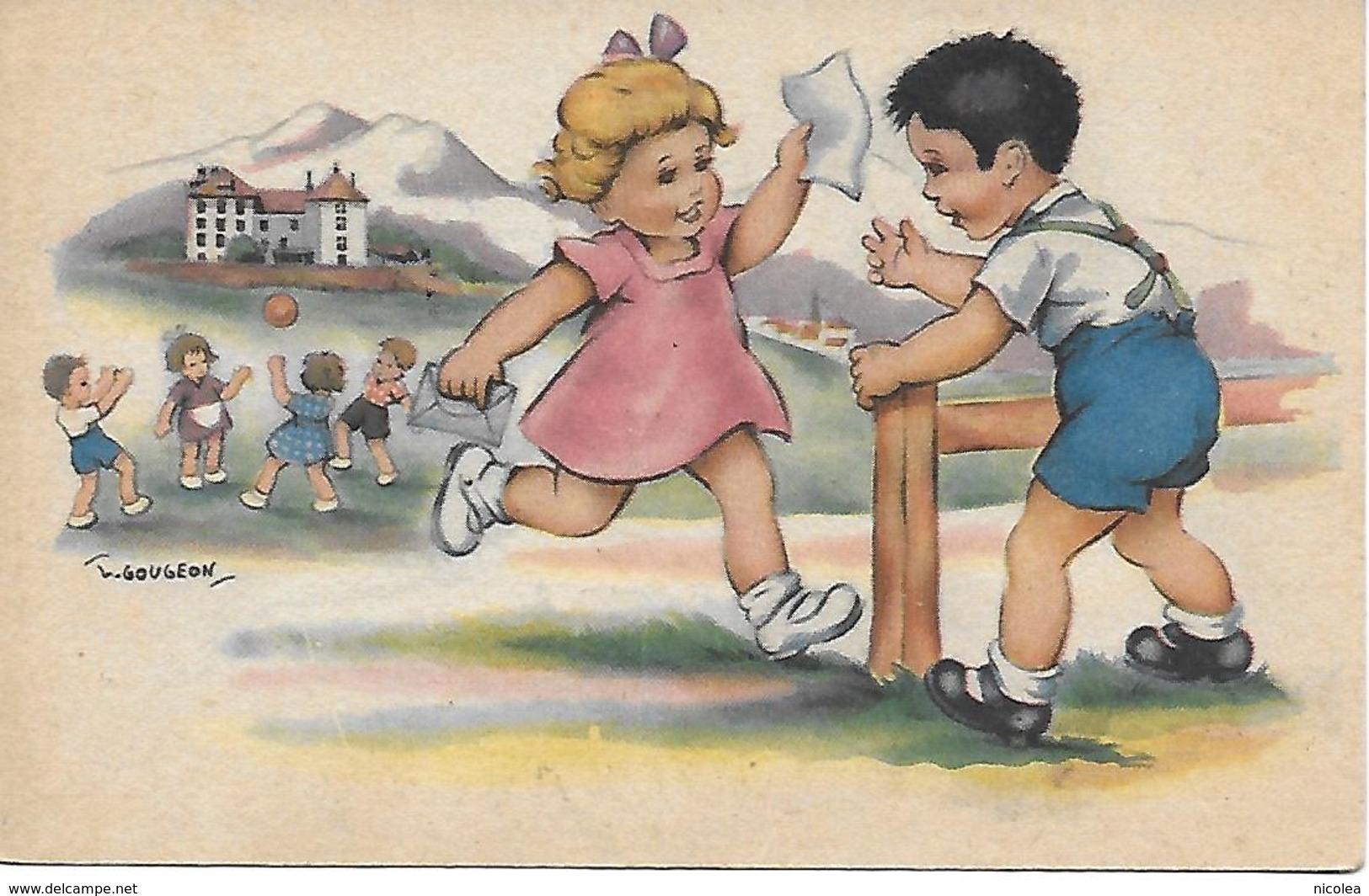 Illustrateur  Gougeon Enfants  Oeuvre Des Pupilles De L'Ecole Publique Nos Belles Stations Scolaires ARVILLARD - France