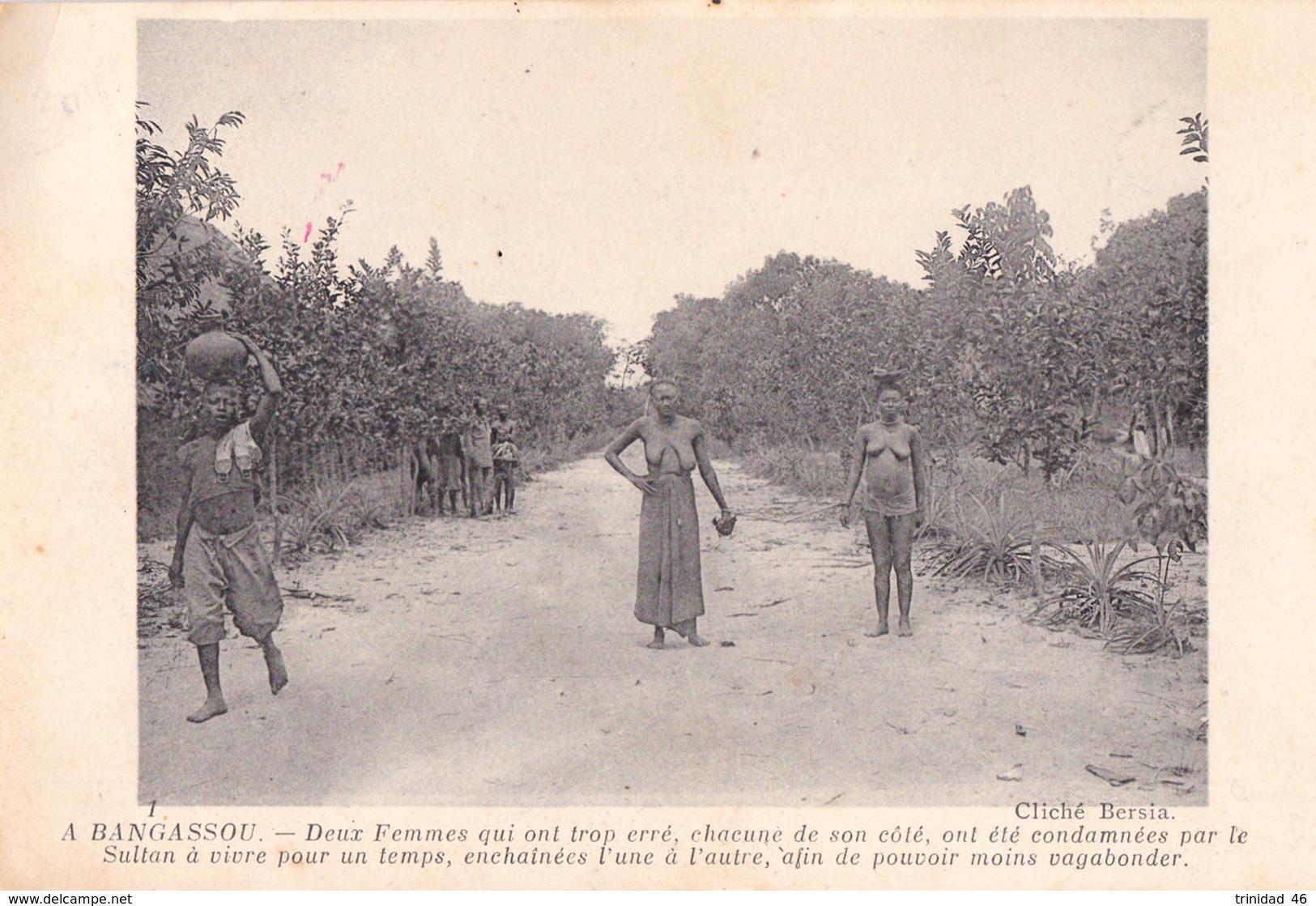 BANGASSOU  REPUBLIQUE CENTRAFRICAINE CENTRAFRIQUE ( 2 FEMMES PUNIES PAR LE SULTAN ) AFRIQUE NOIRE - Centrafricaine (République)