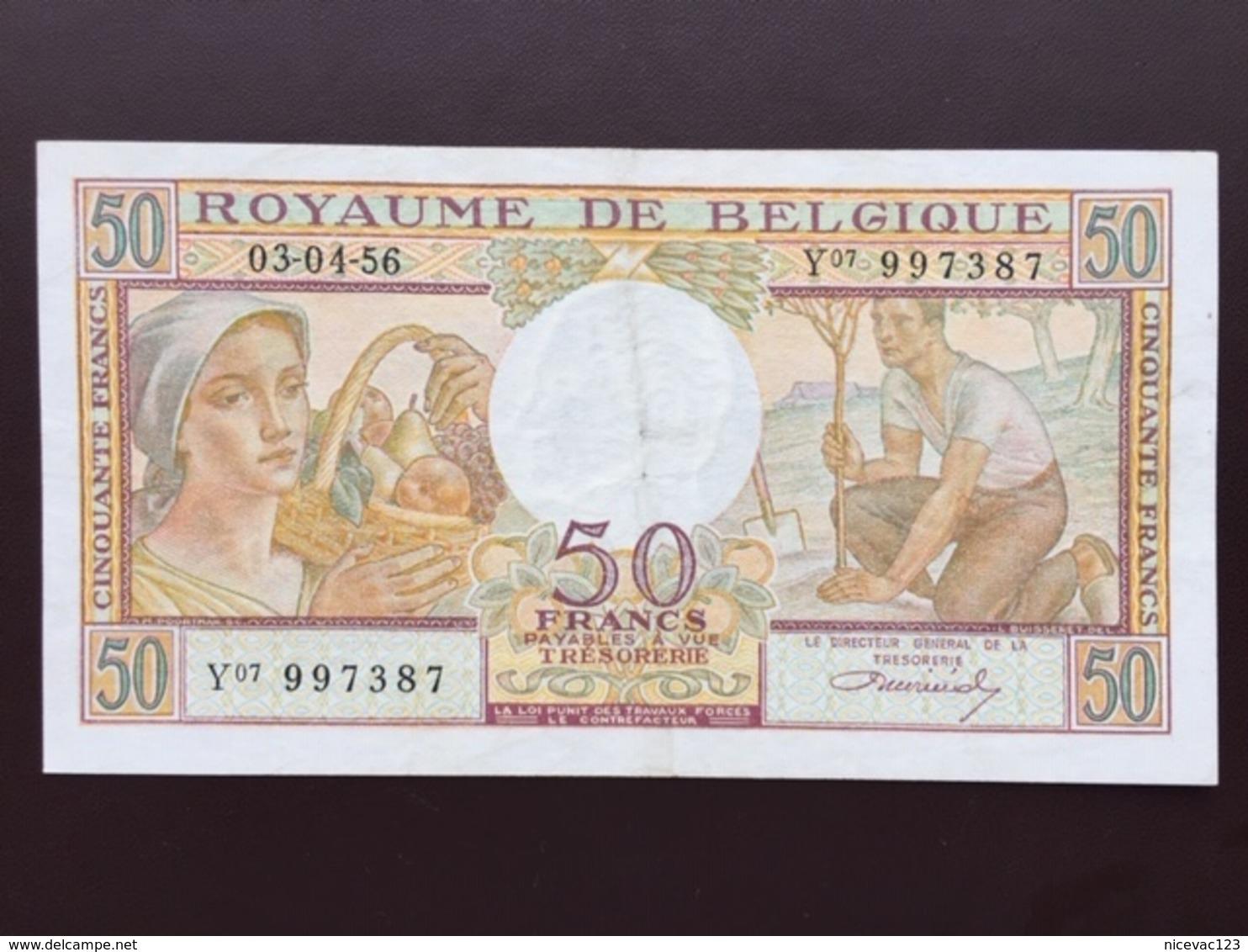BELGIUM P133B 50 FRANCS 03.04.1956 VF+ - [ 2] 1831-... : Reino De Bélgica