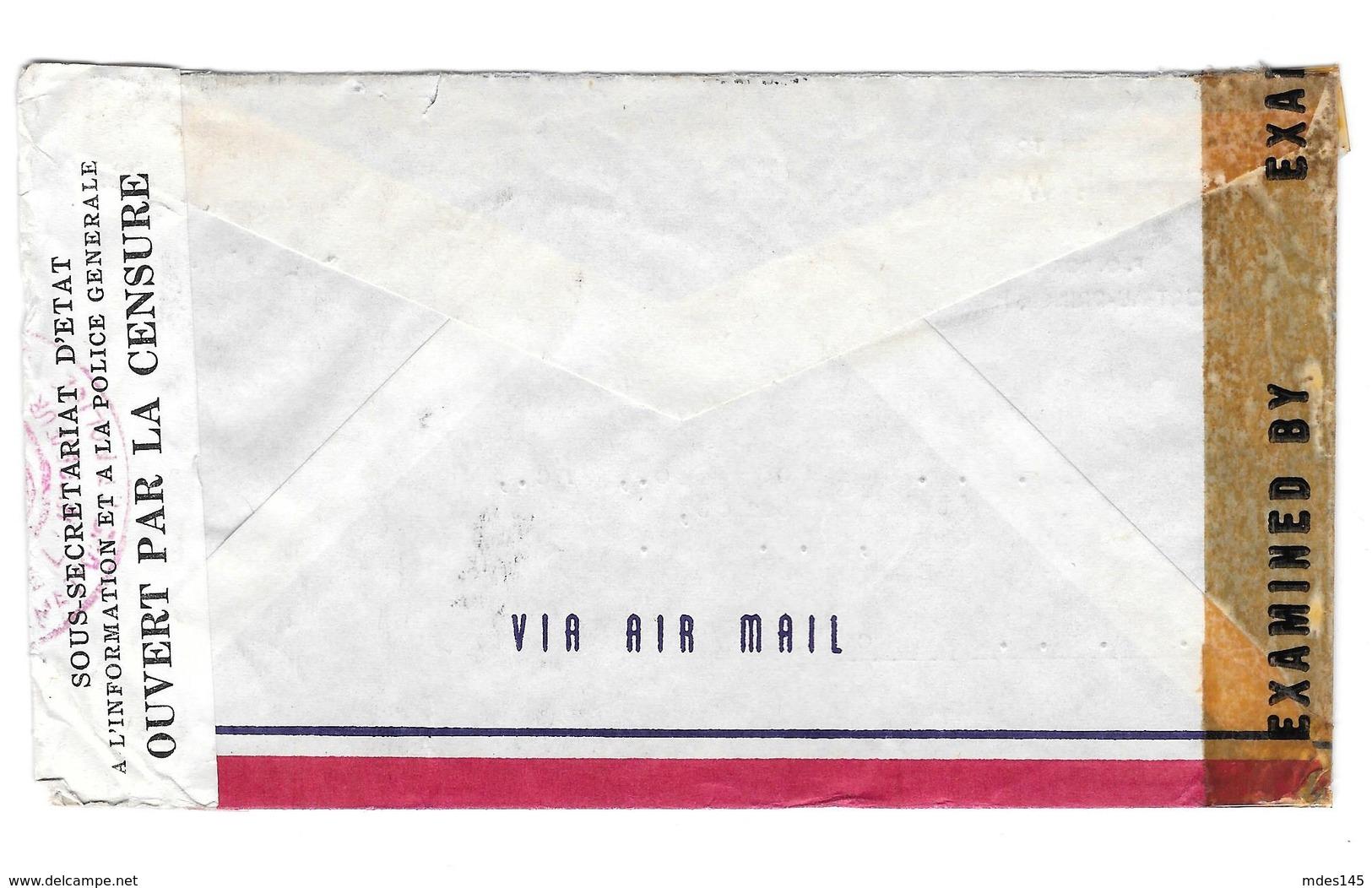 Haiti Double Censored 1943 Airmail Cover Port Au Prince To New York Scott# 344 351 354 - Haiti
