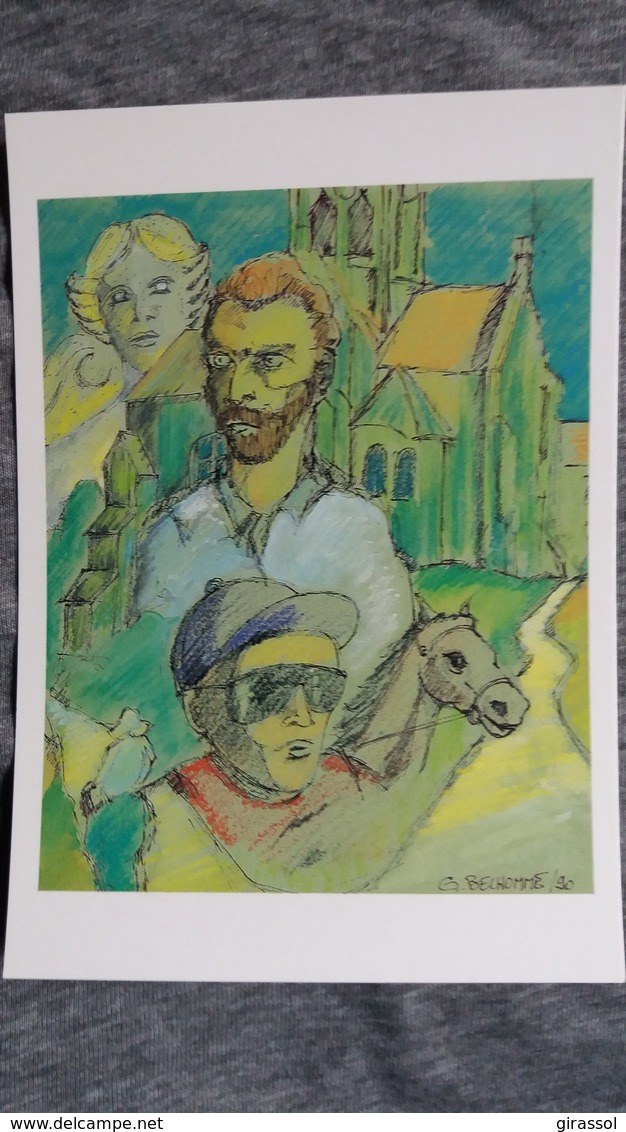 CPM ILLUSTRATEUR G BELHOMME ANNEE VAN GOGH  V 95 ENGHIEN  CHEVAL CAVALIER EGLISE AUVERS PEINTRE    24/ 2500 1990 - Veyri, Bernard