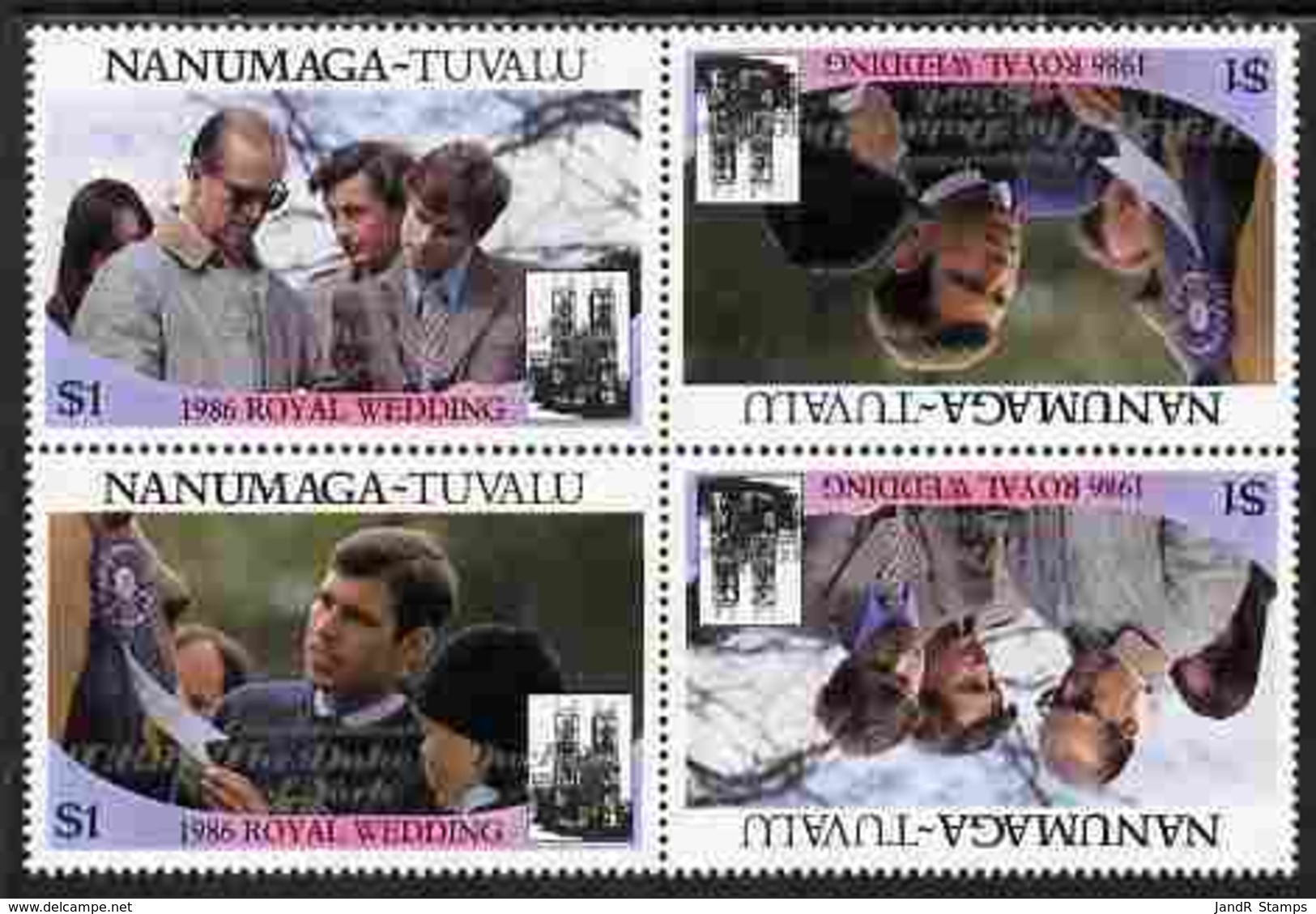 Tuvalu - Nanumaga 1986 Royal Wedding (Andrew & Fergie) $1 With 'Congratulations' Opt In Silver In Unissued Perf Tete-bec - Tuvalu