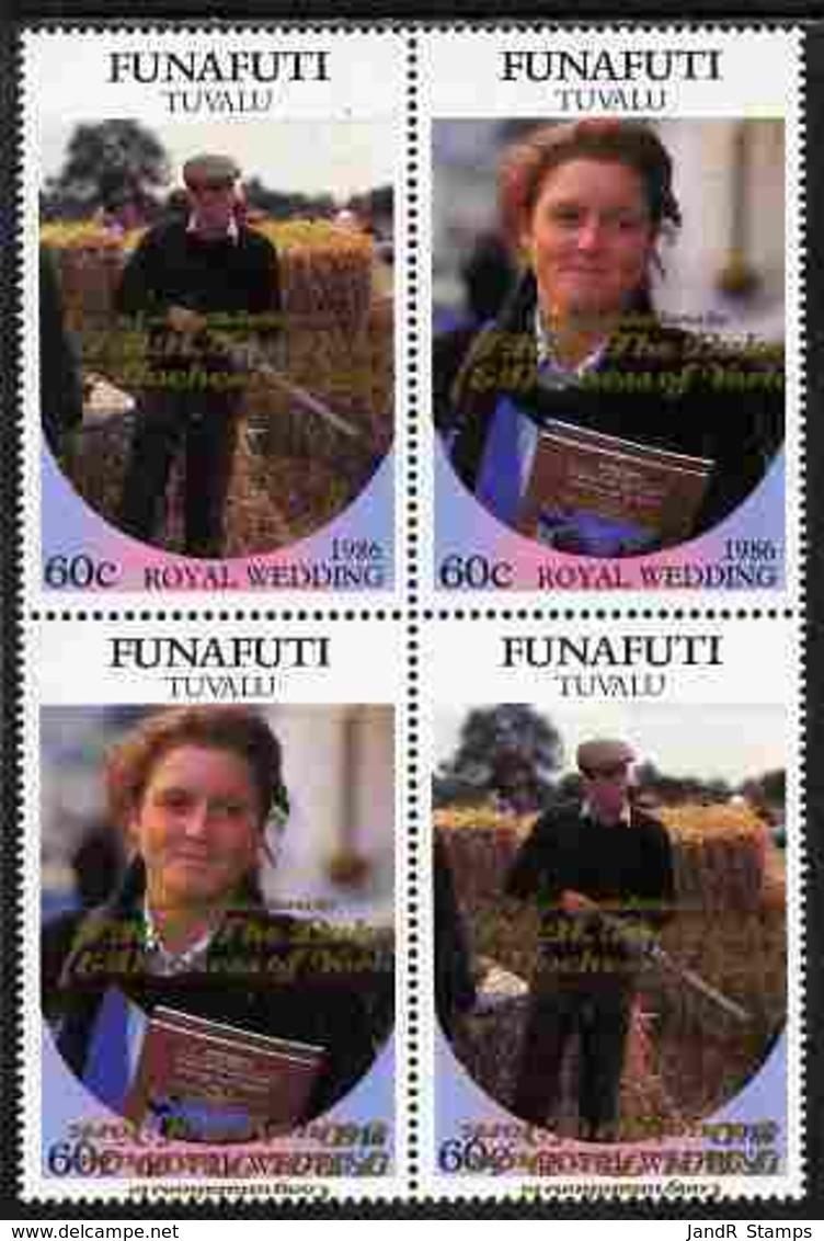 Tuvalu - Funafuti 1986 Royal Wedding (Andrew & Fergie) 60c With 'Congratulations' Opt In Gold In Se-tenant Block Of 4 Wi - Tuvalu