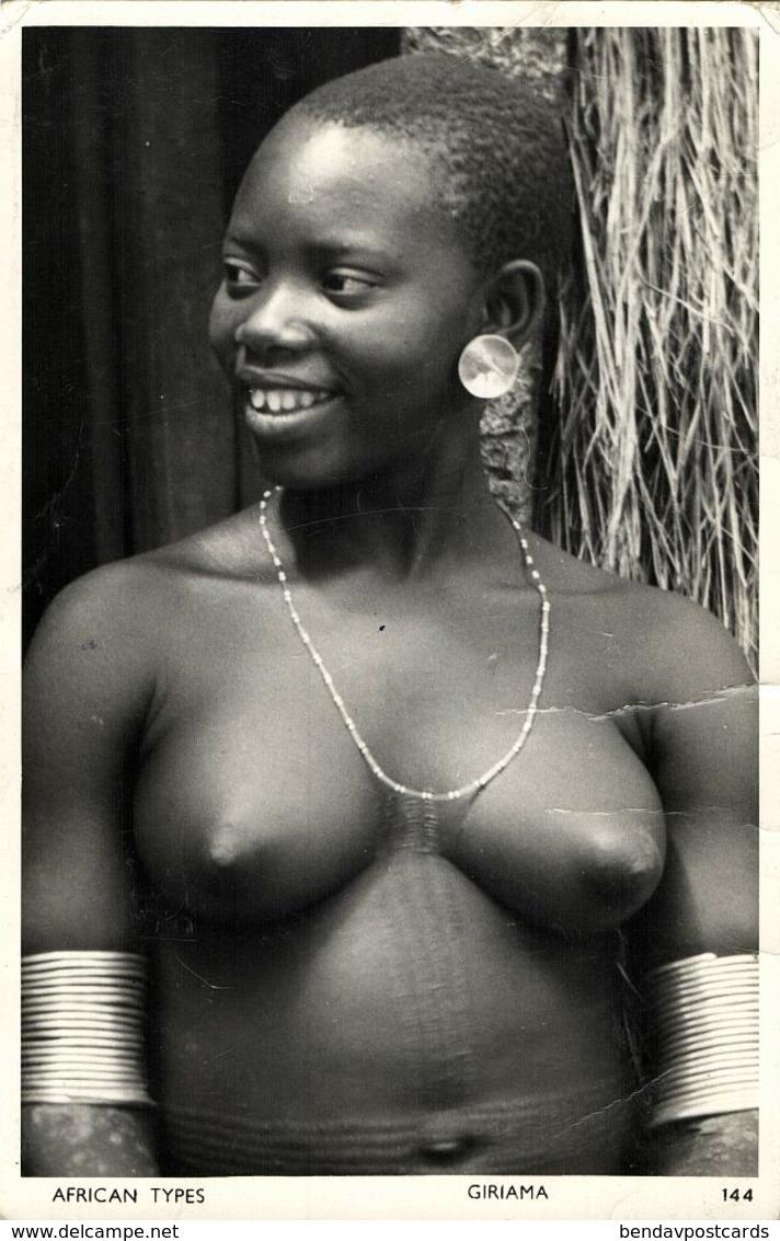 Kenya, Native Nude Giriama Woman, Scarification, Jewelry (1950s) Postcard - Kenia