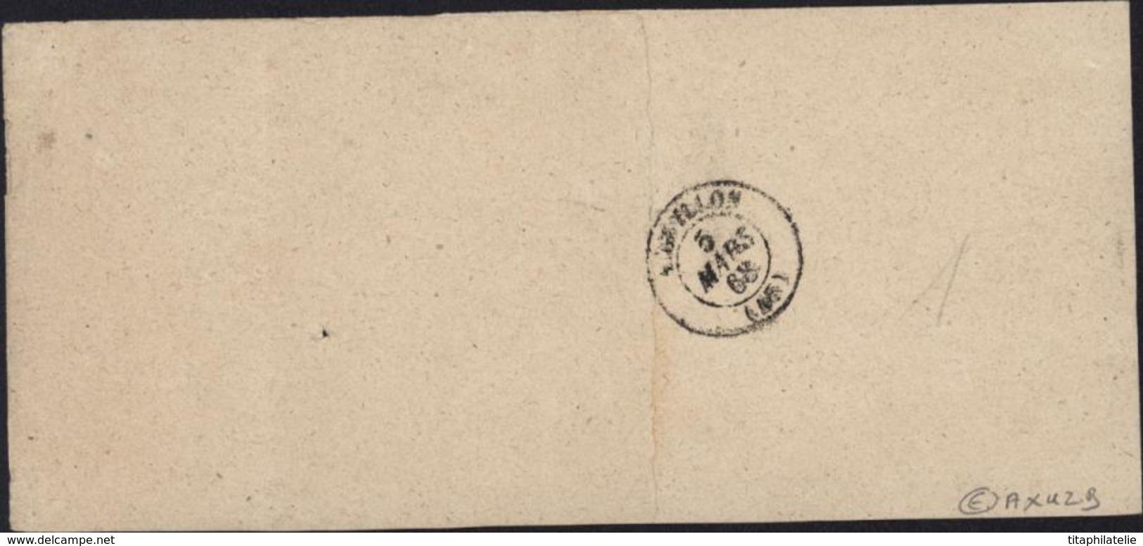Empire Lauré Affranchissement 50ct Papier Affaire YT 28A 2 Paires + 1 Tarif 1 8 1856 Lot Garonne 47 Agen 45 - Posttarieven