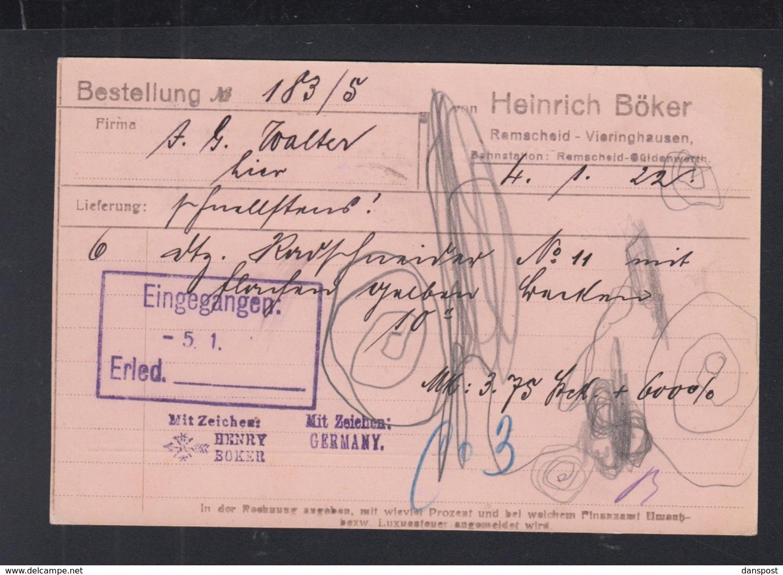 Dt. Reich PK 1922 Remscheid - Deutschland