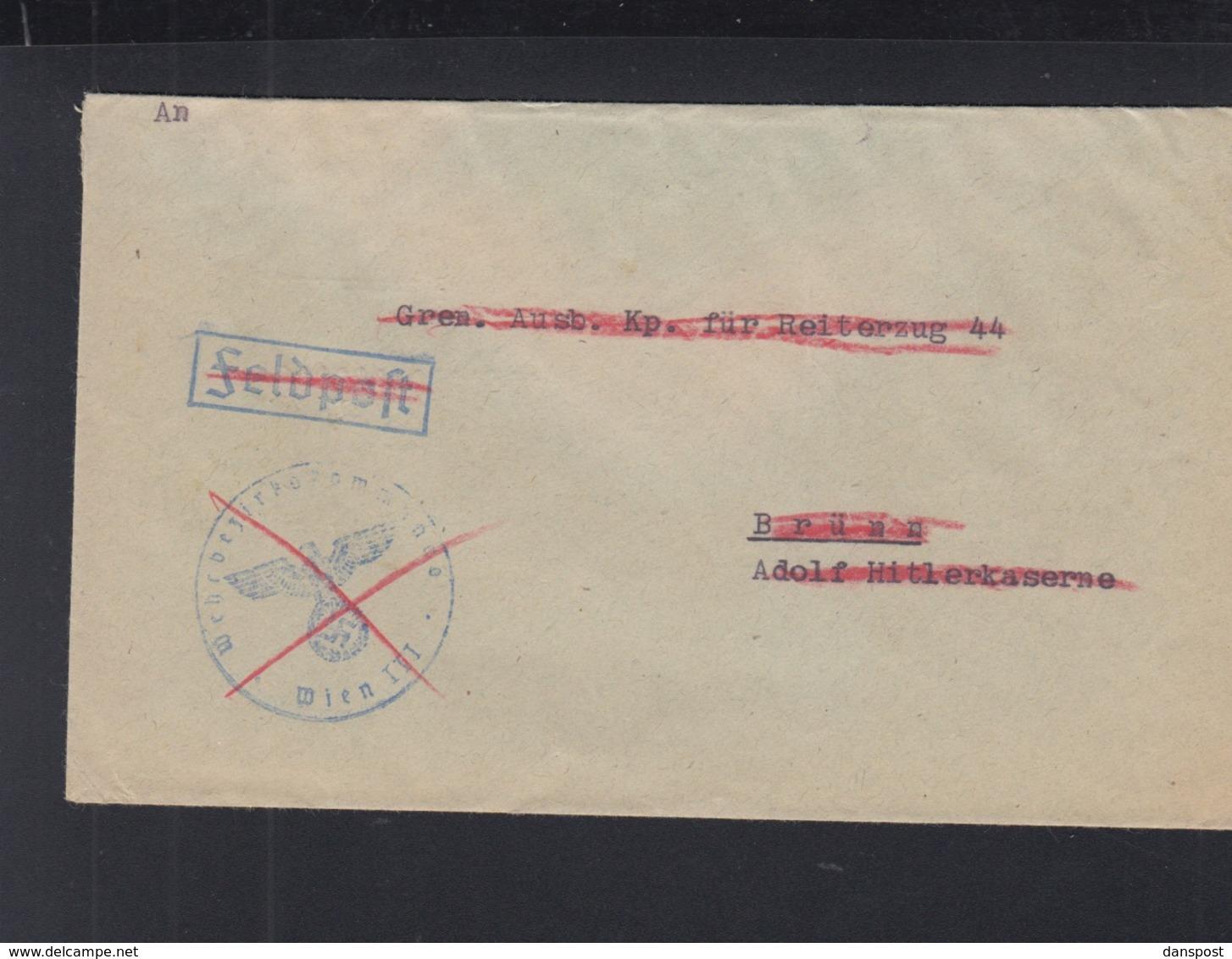 Dt. Reich Dienstpost Brünn R-Brief Doppelverwendung 1943 - Besetzungen 1938-45