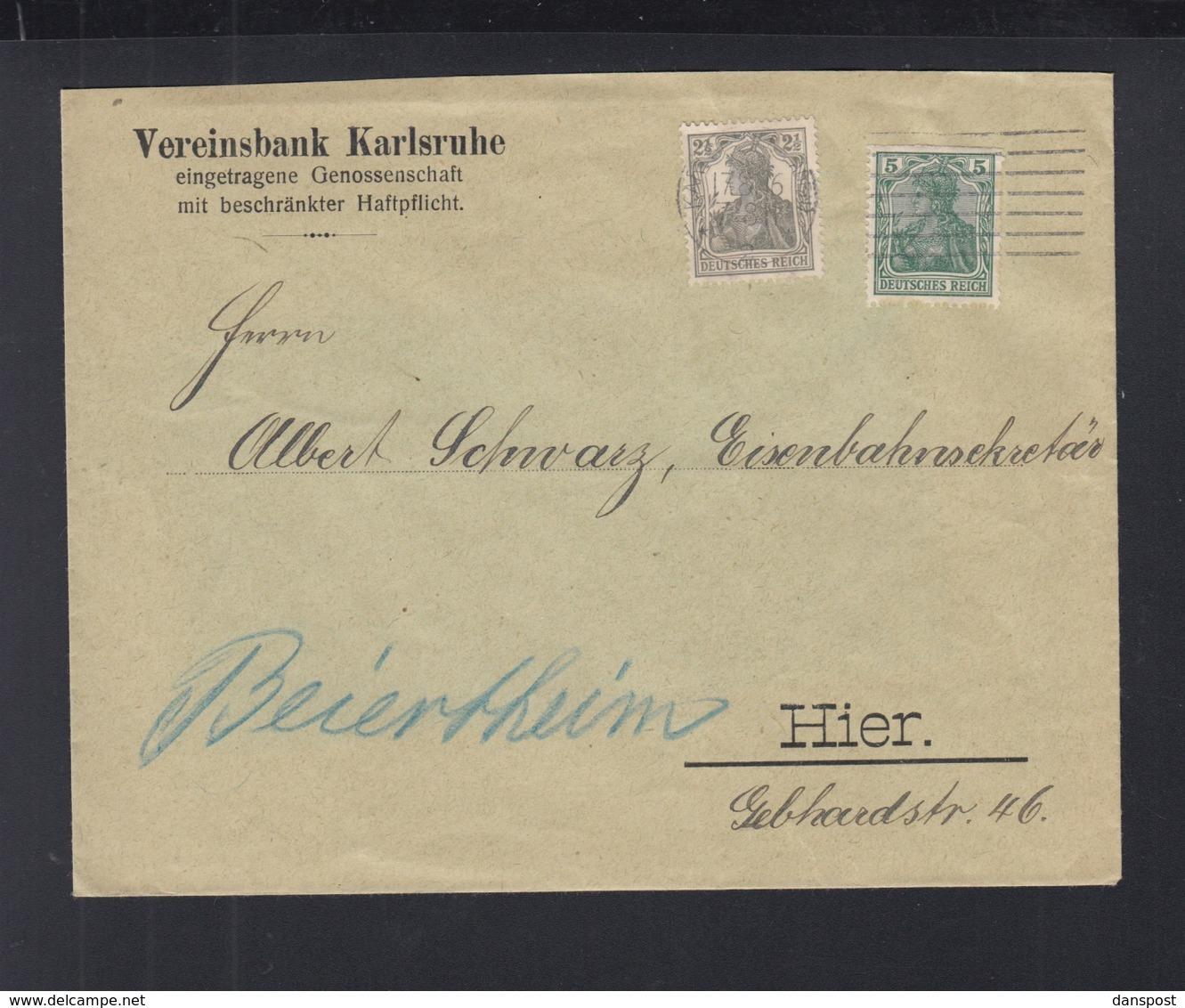 Dt. Reich Brief 1916 Mit 5 Pf Germania Aus MH Karlsruhe - Deutschland