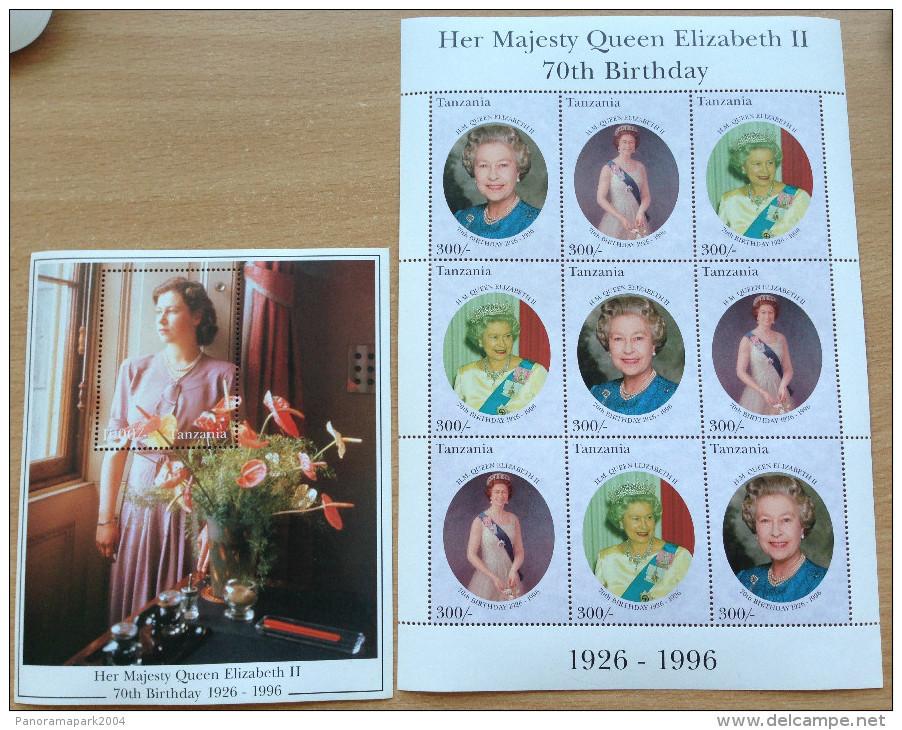Tanzania 1996 Queen Elizabeth II 70th Birthday Royalty UK 1926-1996 1 Sheet + 1 Souvenir Sheet MNH** - Tanzanie (1964-...)