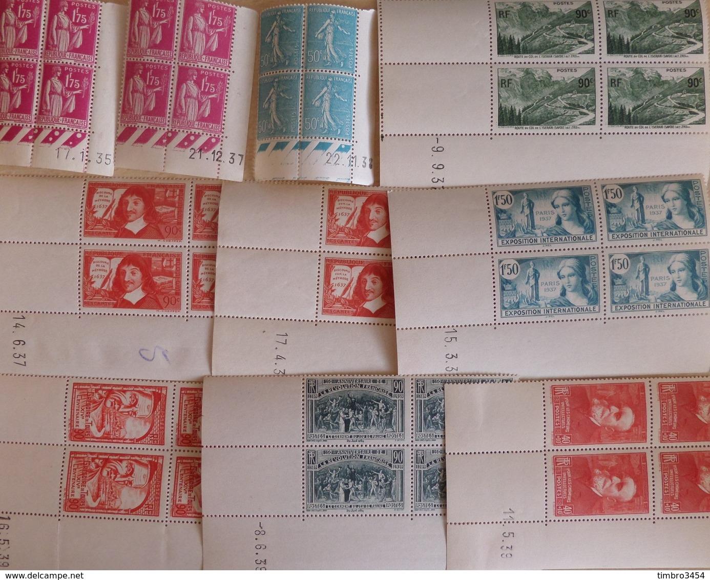 France Belle Collection De 25 Blocs De 4 Coins Datés **/*/obl 1935/1940. Bonnes Valeurs. B/TB. A Saisir! - Dated Corners