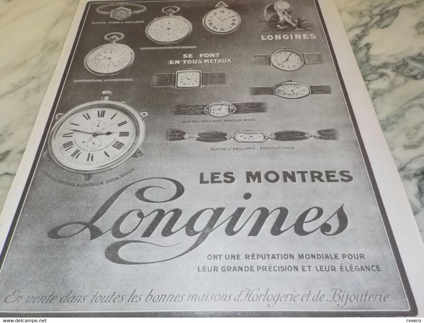 ANCIENNE PUBLICITE MONTRE LONGINES REPUTATION MONDIAL 1916 - Bijoux & Horlogerie