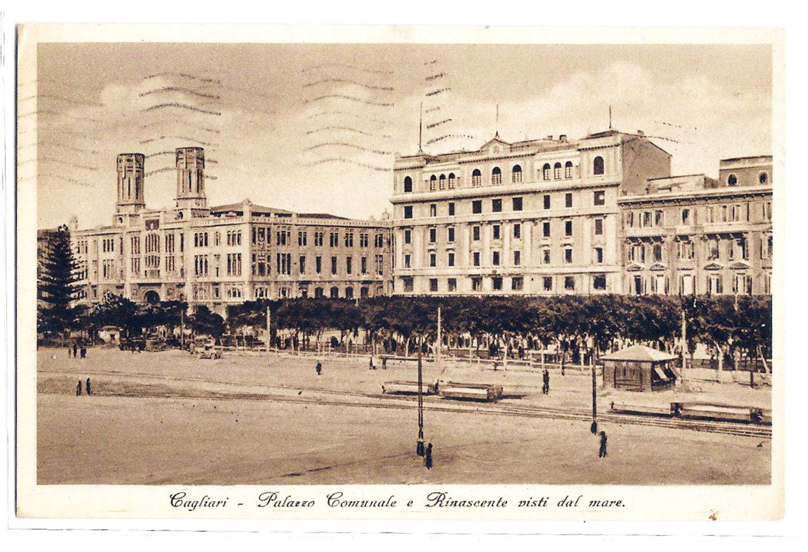 Cagliari - Palazzo Comunale E Rinascente Visti Dal Mare. 1938 - Cagliari