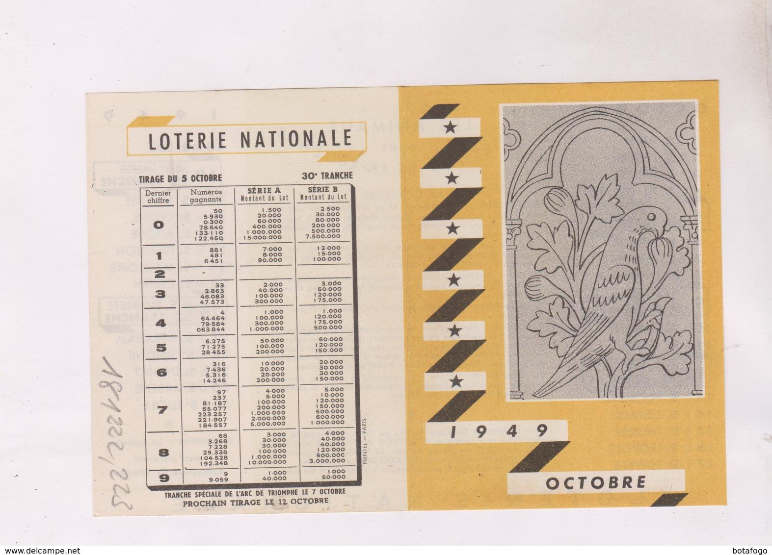 PETIT CALENDRIER EN 2 VOLETS OCTOBRE 1949 ! - Calendriers