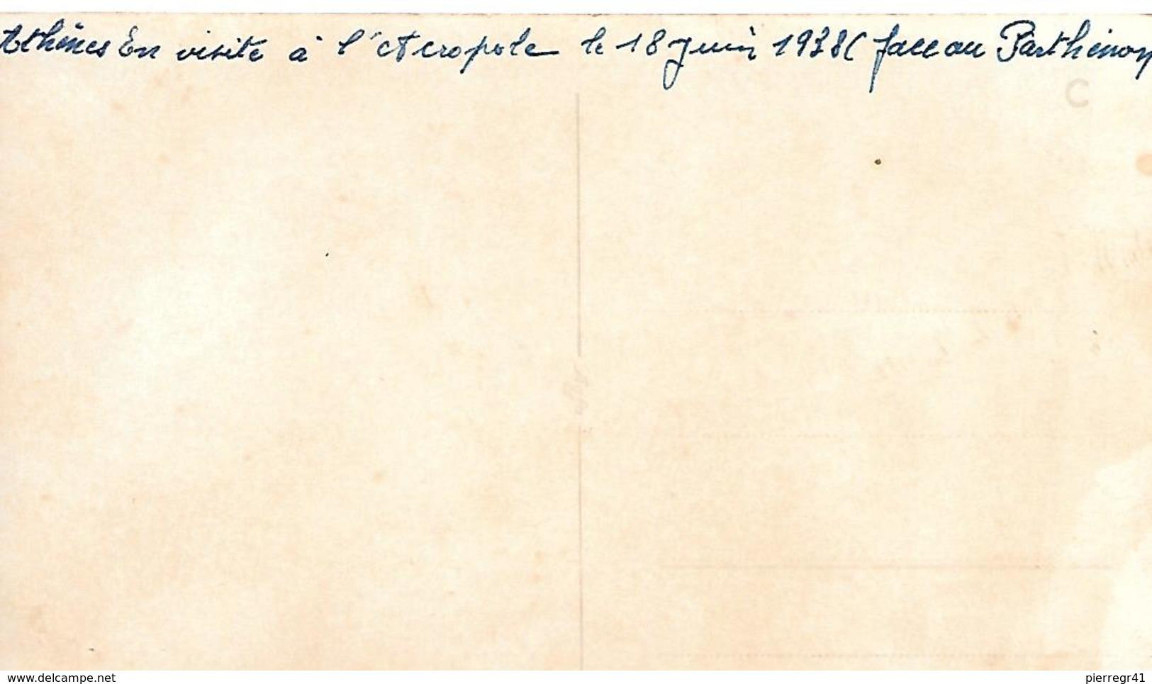 PHOTO-NOIR/BLANC-1938-GRECE-ATHENES-Marins Francais Devant L ACROPOLE-Ft 14x8,5 Cm-TBE - Lieux