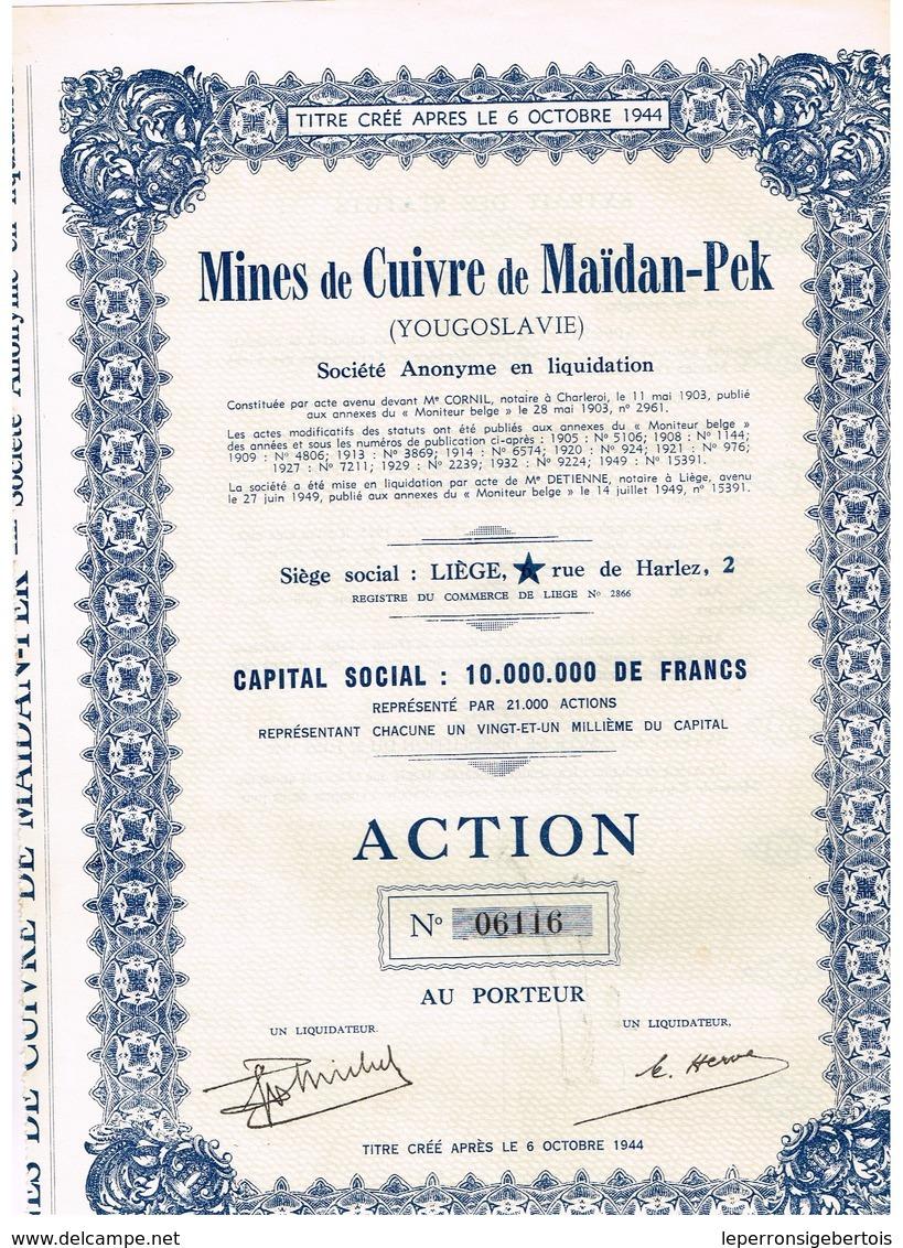Ancienne Action - Mines De Cuivre De Maïdan-Pek - Yougoslavie -Titre De 1949 N° 06115 - Mines