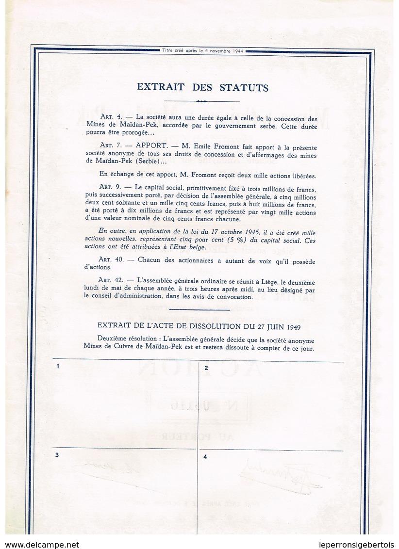 Ancienne Action - Mines De Cuivre De Maïdan-Pek - Yougoslavie -Titre De 1949 N° 06115 - Chemin De Fer & Tramway