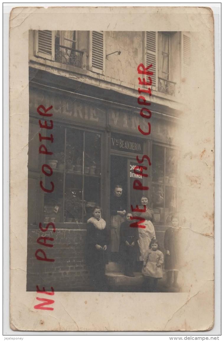 95 - Fontenay En Parisis - Rare - Carte Photo Commerce Dans La Grande Rue - France