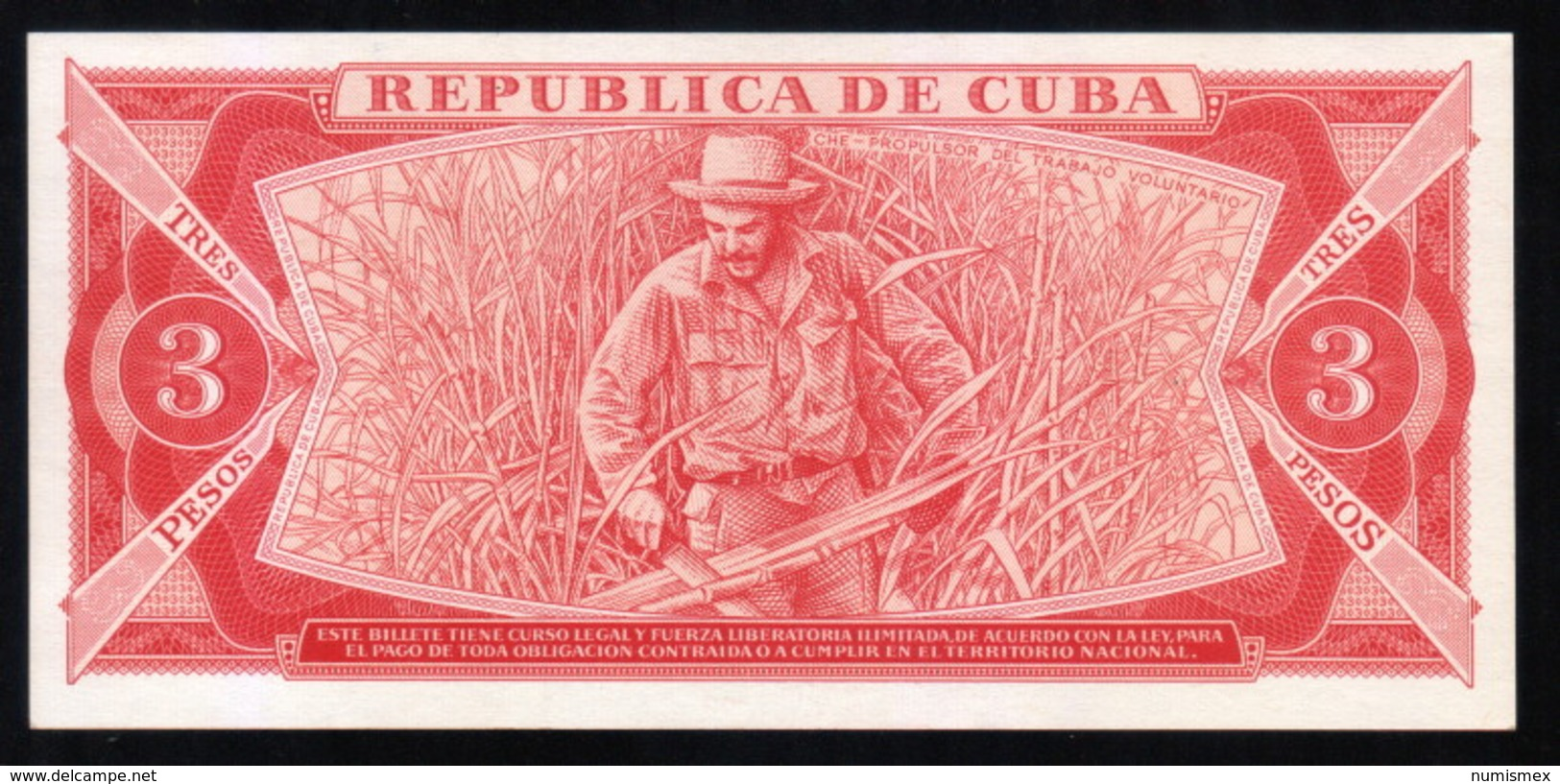 Caribe  / 3 PESOS 1984 Serie CE-01 150680 FIRST SERIE Pick 107a UNC RARE - Cuba
