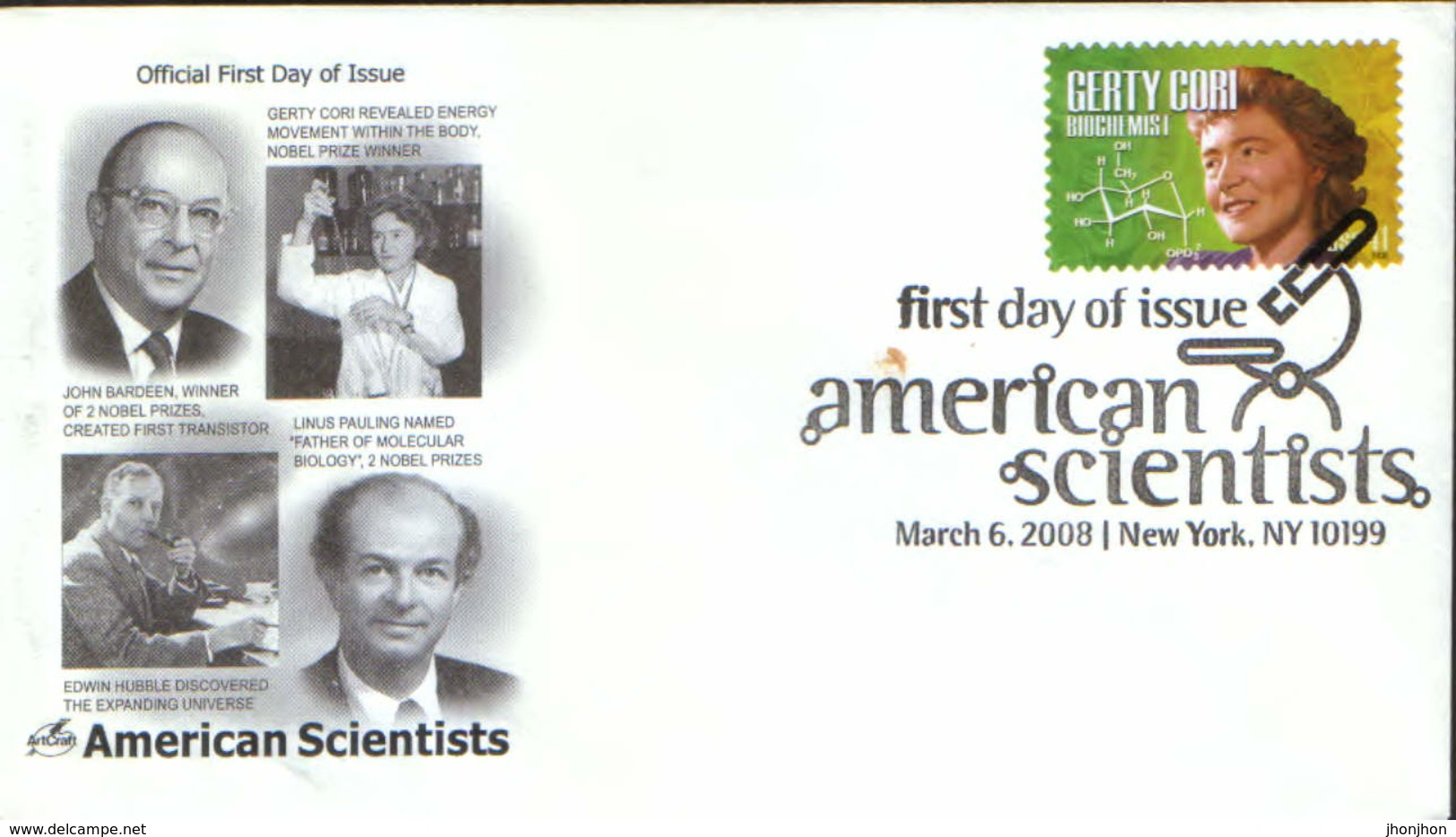 USA - Cover The First Day  2008 - Gerty Cori ,biochemist, Nobel Prize Winner-Revealed Energy Movement Within The Body - Premio Nobel