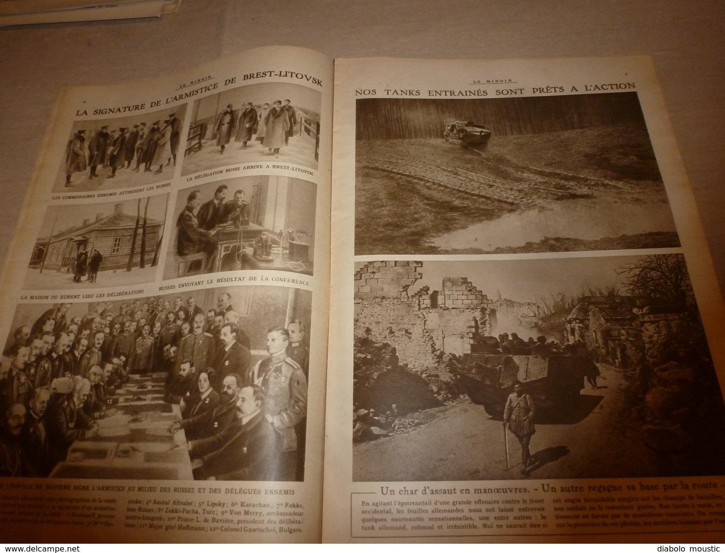 1918 LE MIROIR:Albert 1er Front Belge;Solférino;Grosse Bertha;Torpillage Du CHATEAURENAULT; Essai Tanks Au CANADA;etc - Revues & Journaux