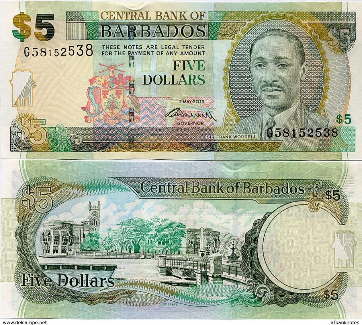 BARBADOS       5 Dollars       P-67c       2.5.2012       UNC - Barbados